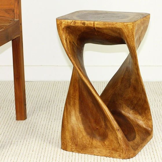 Twist Stool 12 in SQ x 20 in H Walnut-4