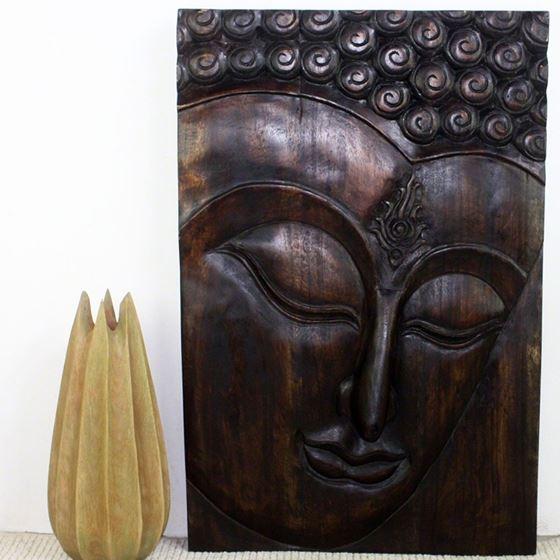 Buddha Panel Ushnisha 24 in x 36 H Mocha
