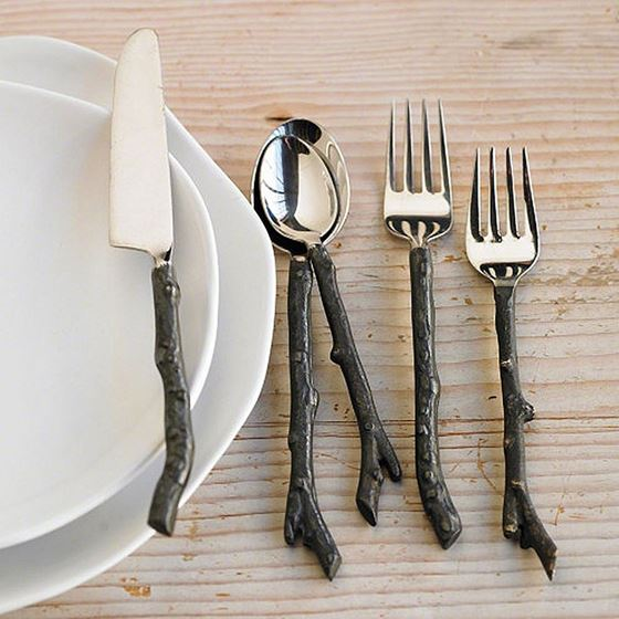 Stainless Steel Twig Flatware 5 Pc Set x 4 Place-2
