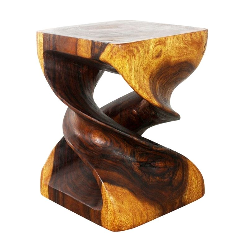 Double Twist End Table 15 x 15 x 20 in H Walnut