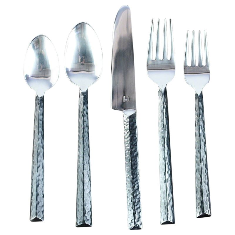 Hammered Triangle Flatware 5 PC Setting x 4 Place